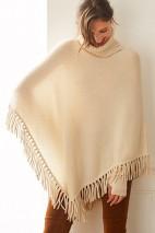 Poncho cachemire écru - 50% cachemire - 50% laine - 4 fils