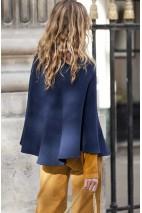 Cape cachemire bleu nuit - 50% cachemire - 50% laine - 2 fils