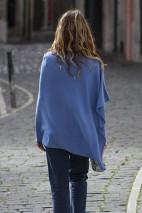 Poncho cachemire bleu roi - 100% cachemire - 2 fils