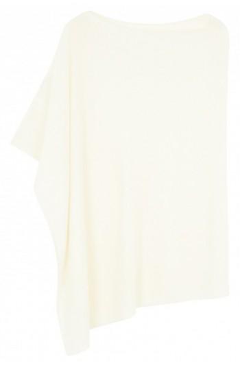 Poncho cachemire blanc cassé - 100% cachemire - 2 fils