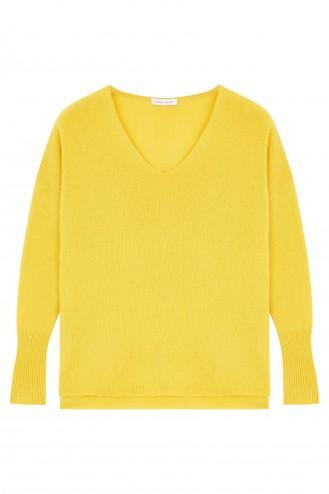 Pull cachemire jaune or - 100% cachemire - 2 fils