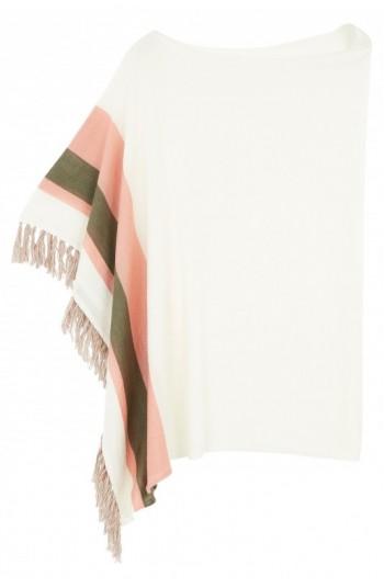 Poncho cachemire blanc - cachemire & soie - 35% cachemire - 35% soie - 30% laine