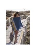 Poncho cachemire bleu jean - cachemire & soie - 35% cachemire - 35% soie - 30% laine