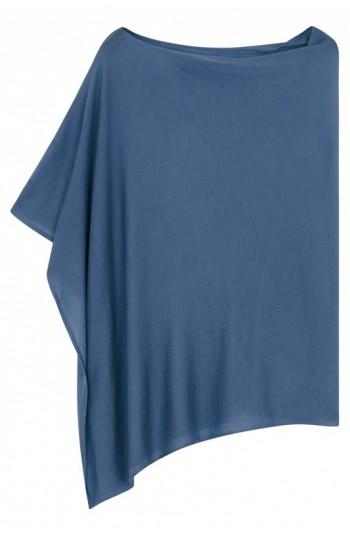Poncho cachemire indigo - cachemire & soie - 35% cachemire - 35% soie - 30% laine