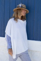 Poncho cachemire bleu pale - 100% cachemire - 2 fils