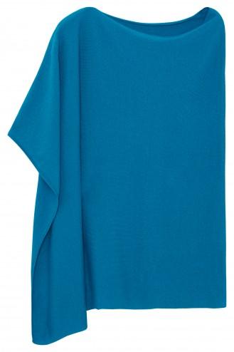 Poncho cachemire bleu canard - 100% cachemire - 2 fils