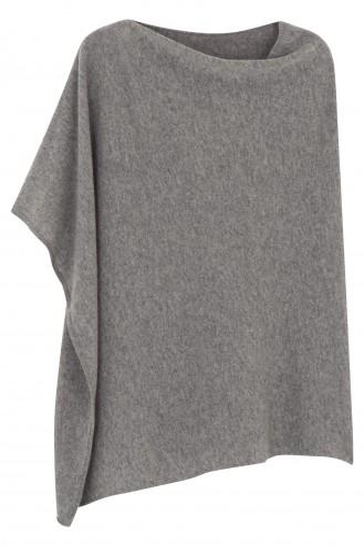 Poncho cachemire gris chiné - 100% cachemire - 2 fils