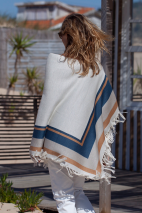 Poncho rayé blanc - alpaga & soie