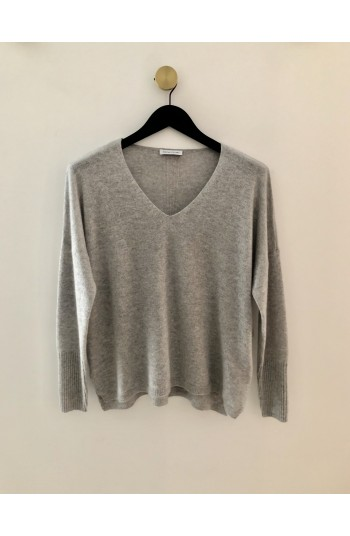 Pull v oversize gris clair chiné - 100% cachemire