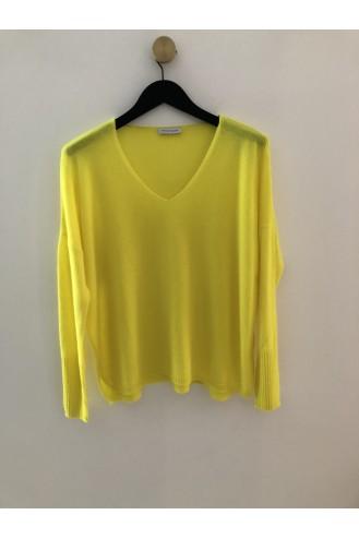 Pull v oversize jaune fluo - 100% cachemire