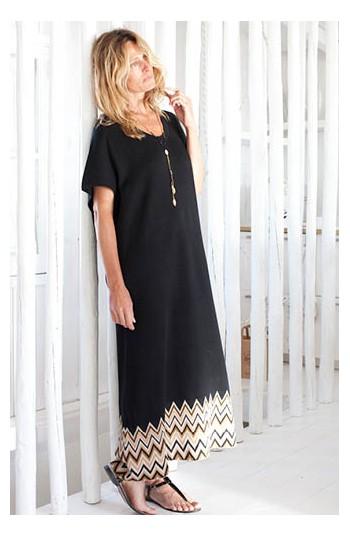 Robe longue noire - Coton pima & modal