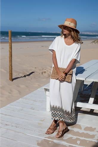 Robe longue blanche - Coton pima & modal