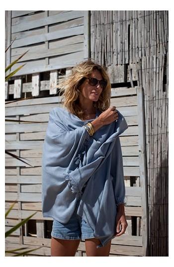 Cape coton bleu azur - Coton pima & modal