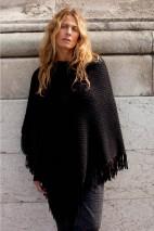 Poncho alpaga noir - alpaga & laine