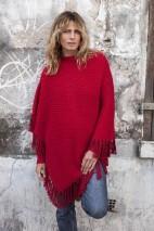Poncho alpaga rouge - alpaga & laine