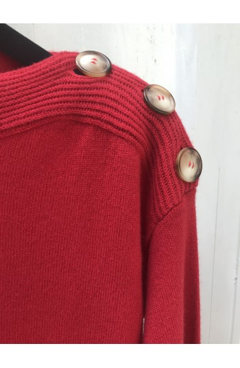 Pull col bateau red hot - 100% cachemire