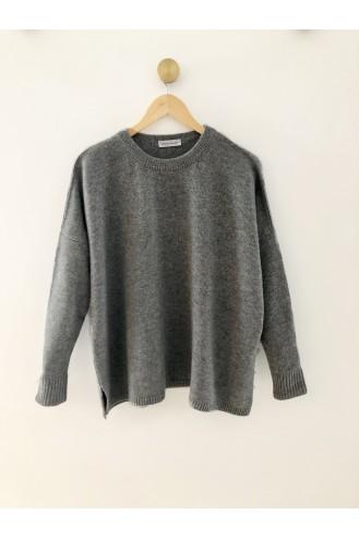 Pull cachemire gris chiné - 100% cachemire - 4 fils