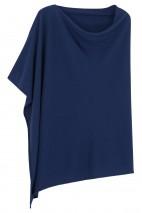Poncho cachemire bleu denim - 100% cachemire - 2 fils