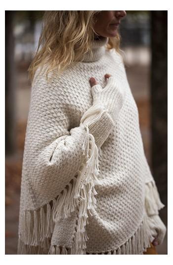 Poncho alpaga écru - alpaga & laine