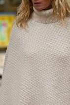 Poncho alpaga écru - 74% alpaga 22% laine 4% polyamide