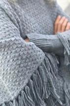 Poncho alpaga gris - 74% alpaga 22% laine 4% polyamide