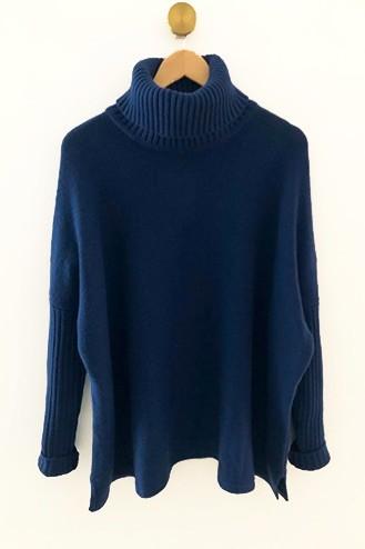 Pull cachemire bleu denim - 100% cachemire - 4 fils