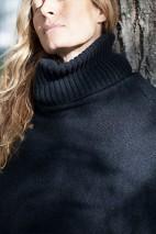 Poncho cachemire noir chiné - 100% cachemire - 4 fils