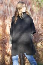 Poncho alpaga taupe - 84% baby alpaga, 8% laine, 8% nylon