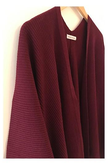 Cape kimono cachemire bordeasu - 30% cachemire 30% laine