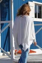 cape kimono crème - 100% cachemire - 2 fils