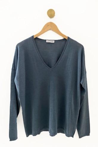 Pull cachemire bleu acier - cachemire & soie - 35% cachemire - 35% soie - 30% laine