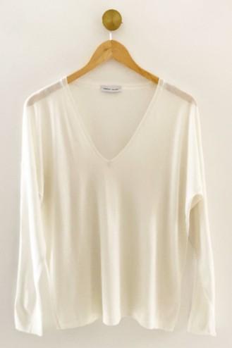 Pull cachemire blanc - cachemire & soie - 35% cachemire - 35% soie - 30% laine