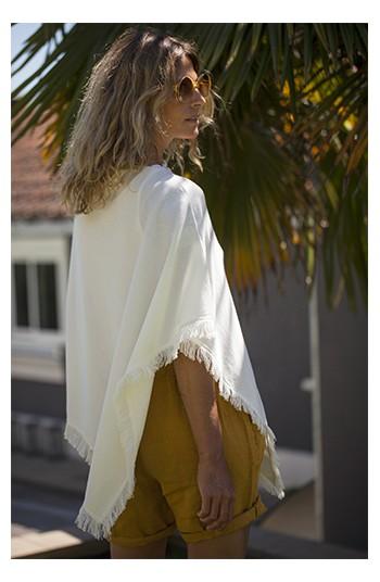 Poncho coton blanc - coton pima & modal