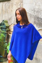Poncho cachemire 14 ans - outremer - 100% cachemire - 2 fils