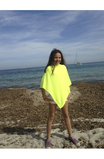 Poncho cachemire 10 ans - jaune fluo - 100% cachemire - 2 fils