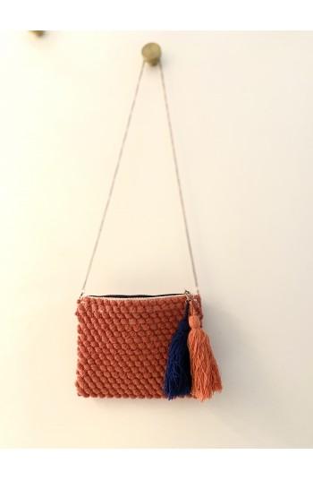 POchette sac pompon Rose & marine