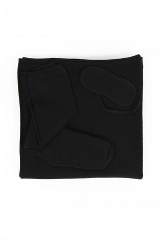 kit voyage cahemire noir - 100% cachemire - 2 fils