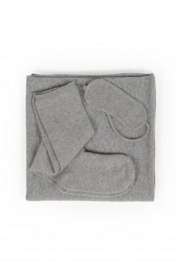 kit voyage cahemire gris chiné - 100% cachemire - 2 fils