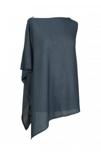 Poncho cachemire bleu acier - cachemire & soie - 35% cachemire - 35% soie - 30% laine