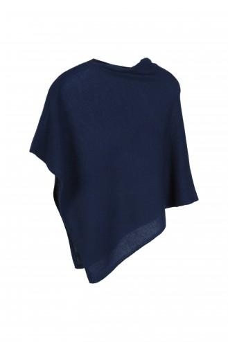 Poncho cachemire 6 ans - bleu de chine - 100% cachemire - 2 fils