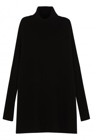 Poncho cachemire noir - 100% cachemire - 6 fils