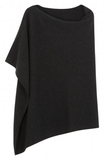 Poncho cachemire noir chiné - 100% cachemire - 2 fils