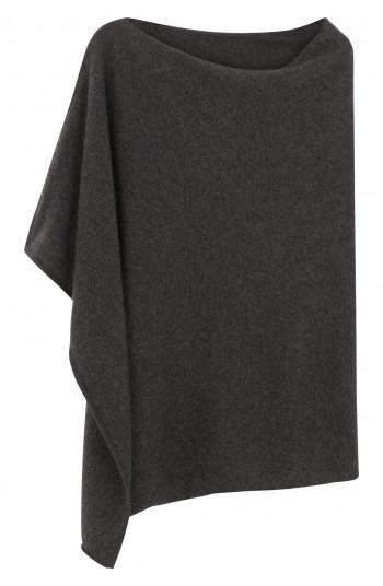 Poncho cachemire gris flanelle - 100% cachemire - 2 fils