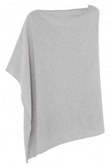 Poncho cachemire gris clair chiné - 100% cachemire - 2 fils