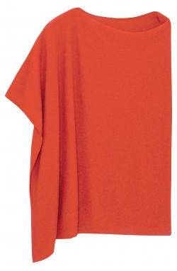 Poncho cachemire orange - 100% cachemire - 2 fils