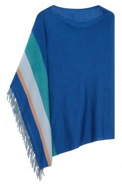 Poncho cachemire bleu azur -  cachemire & soie