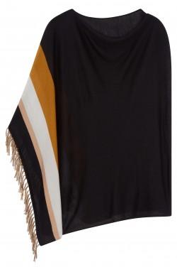 Poncho cachemire noir -  cachemire & soie