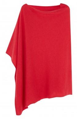 Poncho Carré Cachemire Rouge framboise - 100% cachemire - 2 fils