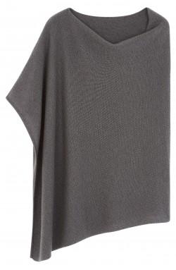 Poncho cachemire gris orage - 100% cachemire - 4 fils