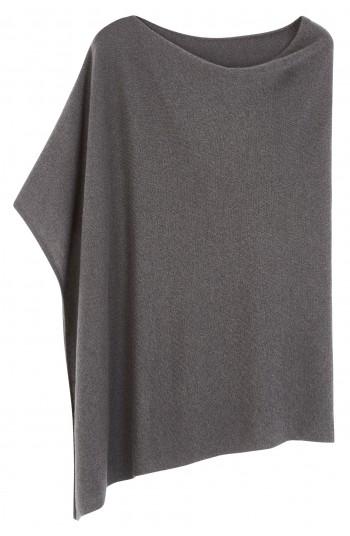 Poncho cachemire gris orage - 100% cachemire - 2 fils